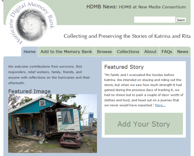 Collecting and Preserving Memories of the 2005 Gulf Coast Hurricanes