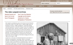screenshot UWDC Aldo Leopold Archives homepage