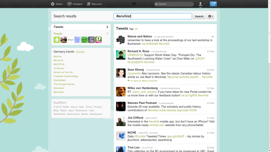 Screenshot of twitter showing activity tagged #envhist.