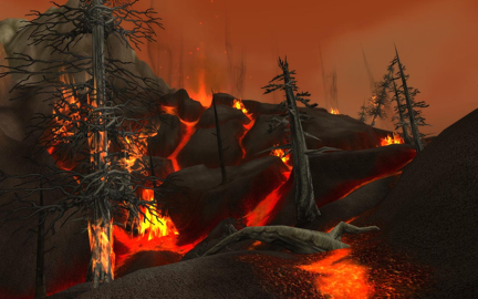 Global environmental upheaval and destruction in the wake of a dragon's awakening in World of WarCraft: Cataclysm (2010) (image courtesy Joystiq.com)