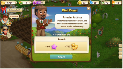 The logic of resource extraction and capital expansion in Zynga's FarmVille 2 (personal screenshot)