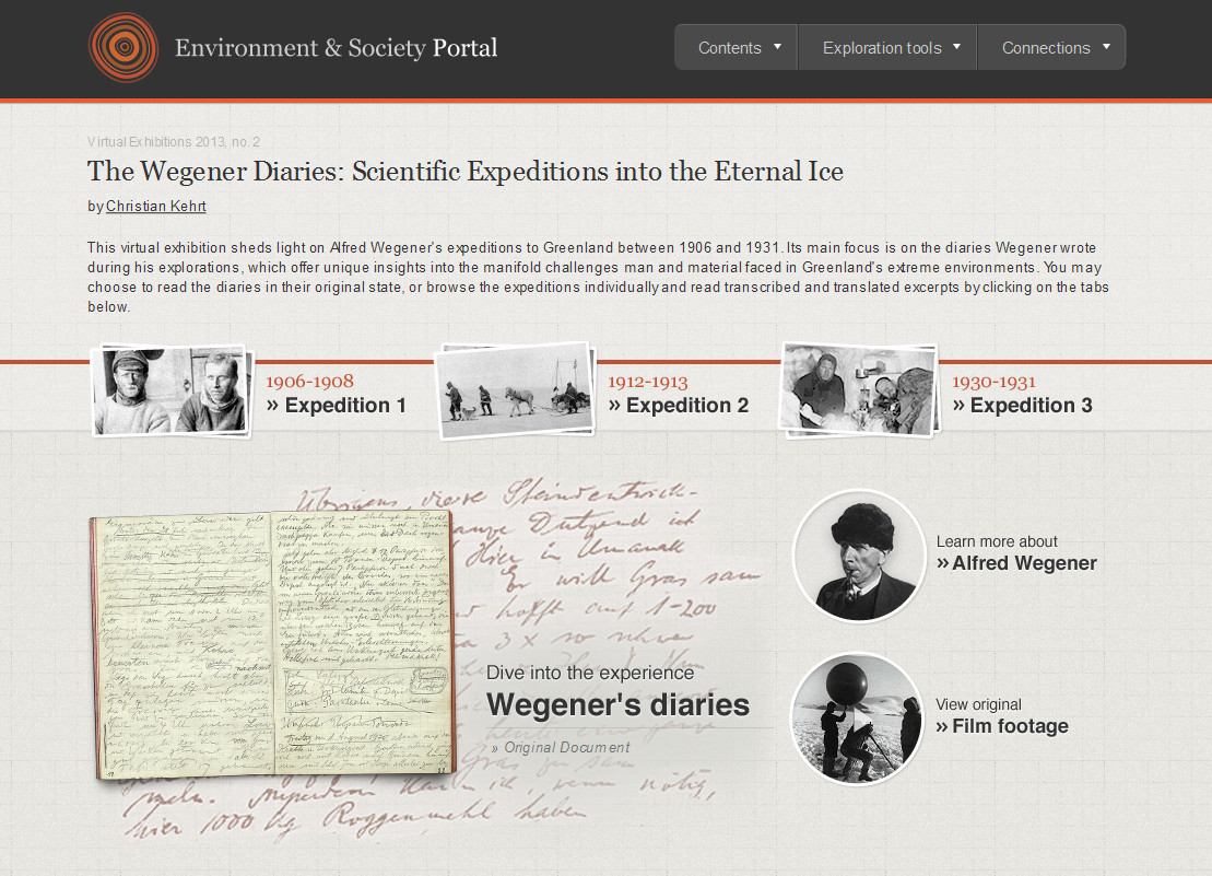 screenshot virtual exhibition on Wegener's diaries