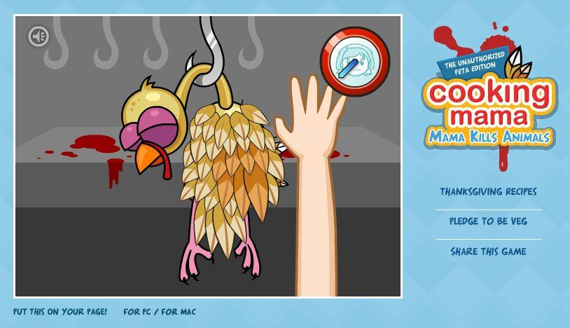 Fig. 2. Pluck your own Thanksgiving turkey in PETA's Cooking Mama: Mama Kills Animals game. Author screenshot.