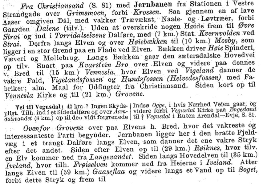 Excerpt from Yngvar Nielsen, Reisehaandbog over Norge, 8de omarbeidede og betydelig forøgede udgave (Christiania: Alb. Cammermeyers Forlag, 1896)