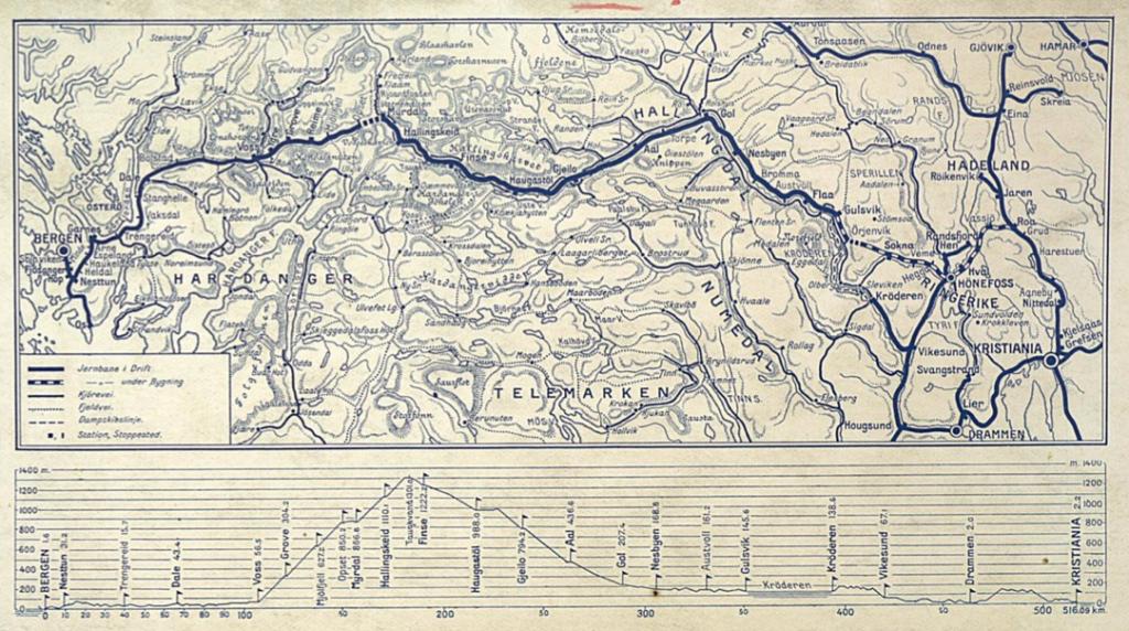 Bergensbanen railroad map, from Yngvar Nielsen's book Norske jernbaner II. Bergensbanen, 1908.