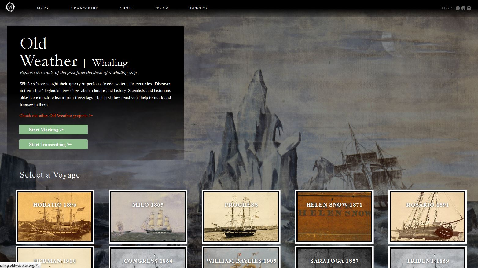 OldWeather.org invites citizen scientists to mark and transcribe ships' logbooks.