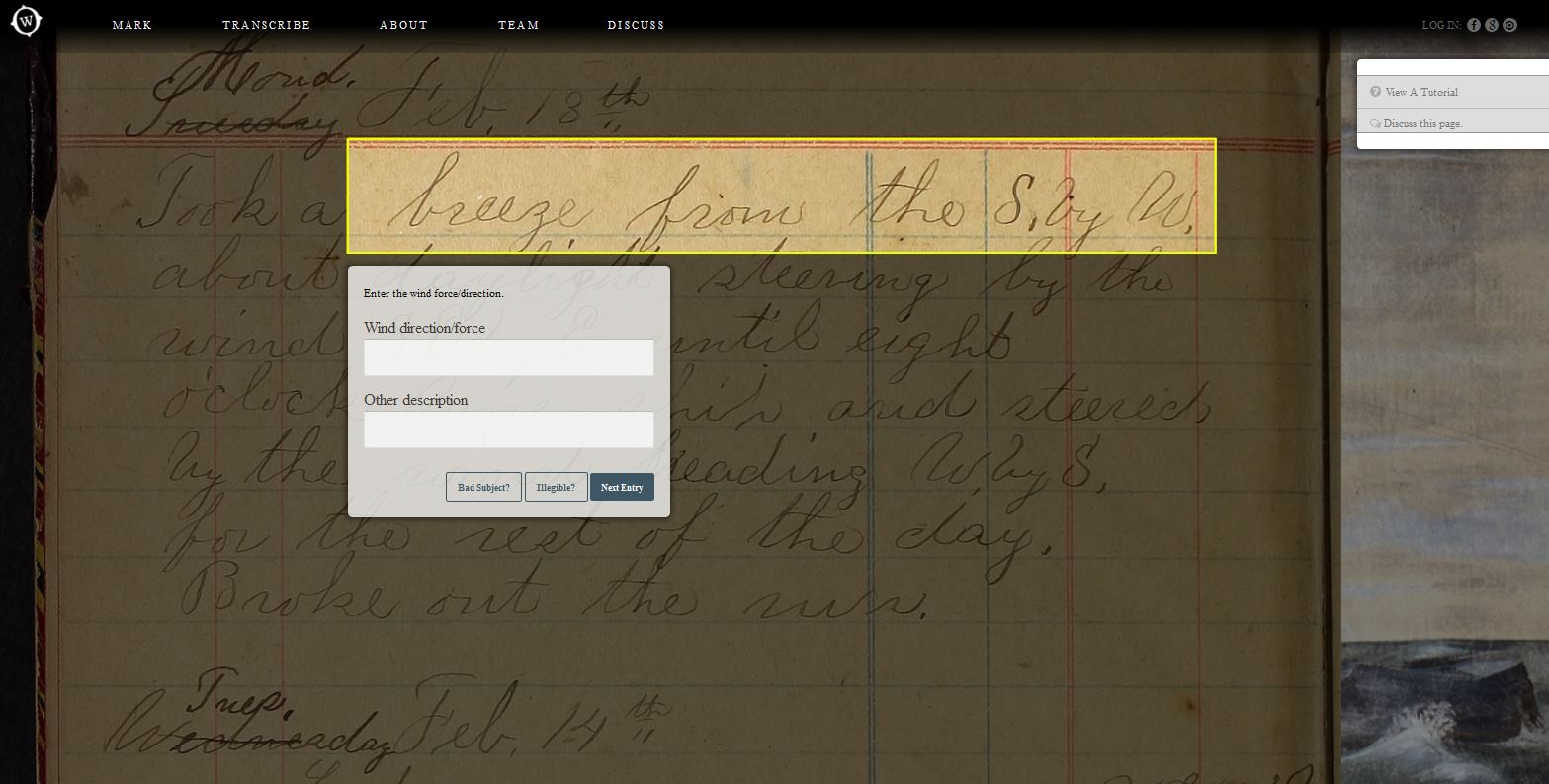 Interface for transcribing logbooks