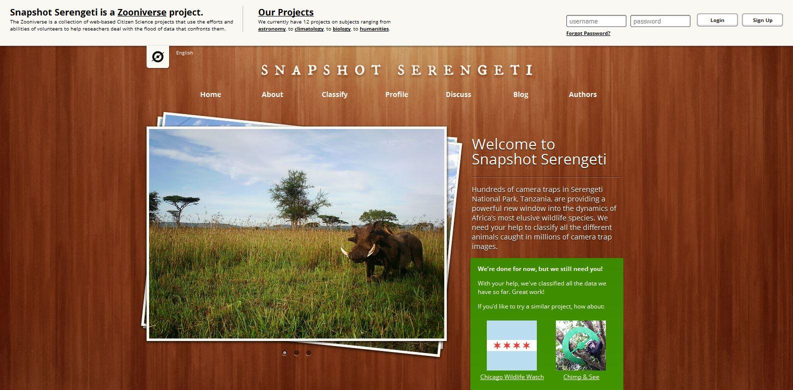Snapshot Serengeti invites users to classify animals photographed in Serengeti National Park.